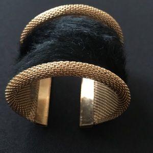 Gold mesh adjustable faux calf hair cuff